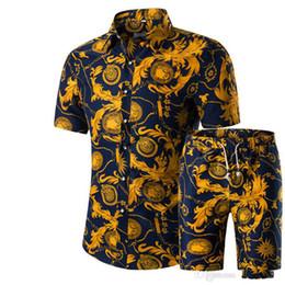 Homens Camisas + Shorts Set New Verão Impresso Ocasional Camisa Havaiana Homme Curto Masculino Impressão Vestido Terno Conjuntos Plus Size de