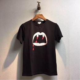 vampire t shirts Promotion Marque Designer-Hip Hop Vampire Dents T Shirt Hommes / Femmes Casual Coton À Manches Courtes Slp Tops Tee Style D'été Streewear Saint Tshirts