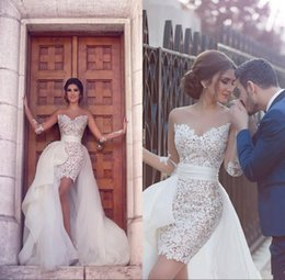 6d49029dd56 2018 Sexy sweetheart Neck Sheer Long Sleeve Lace With Tulle Detachable Skirt  boho Wedding Dresses Vestido De Noiva Sexy Beach Bridal Gowns