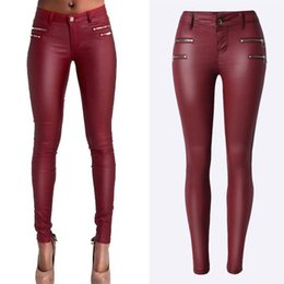 Rosso pu pants online-Jeans skinny da donna Sexy Low Life Wine Red Stretch Jeans Pantaloni slim in PU sintetico in ecopelle