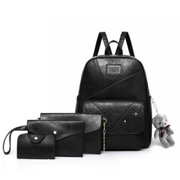 1d72d952aa69 fashion lady backpacks NZ - SoudElor 4 piece set Retro style PU backpack  ladies Simple fashion
