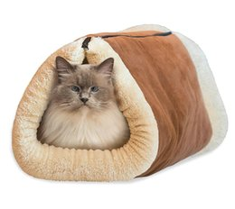 ящики для кроватей для собак Скидка 2-in-1 Self Heating Warm Cat Pet Bed Tunnel Portable Cotton Tube Cushion Mat Pad For Dog Kennel Crate House