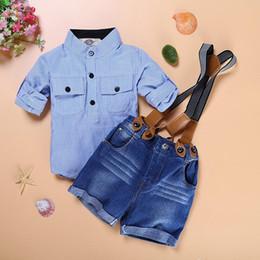 ragazzi a righe di bretelle Sconti Estate Baby Boys Denim Sets Abbigliamento blu a righe Camicie casual + Pantaloncini bretelle Jeans Pantaloni 2PC Tute Costume Abbigliamento per bambini