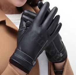 0d64188734e75 PU Leather Touch Screen Gloves Men Women Lovers Fleece Linner Full Finger  Autumn Winter Outdoor Driving Mittens LJJO5883