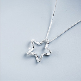Wholesale Zircon Necklace Sets - Five-pointed star zircon stars necklace female clavicle chain South Korea simpled zircon stars necklace female clavicle birthday