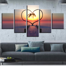 Wholesale wall art wood panels - HD Pictures Printing Decor Wall Canvas Paintings 5 Pieces Woods Bridge Heart-Shaped Tree Sunshine Landscape Posters Art Modular
