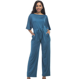 bc7a193918b Chinese 2018 Jumpsuit Women Blue Red Purple Middle Sleeve Loose Jumpsuits  Plus Size 3xl Solid Color