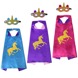 Wholesale Cosplay - Unicorn Capes and mask sets cartoon cosplay Costumes unicorn cape+mask 2pcs set Halloween cape mask for Kids 70*70CM C3735