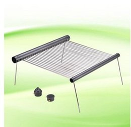 Wholesale Travel Bbq Grill - Wholesale-Outdoor Folding Iron Camping BBQ Portable Cooking Travel Barbecue Grills Ultralight Oven rack for a tube camping grill tools