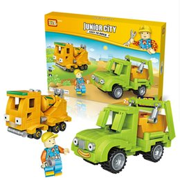 Wholesale Toy Building Cranes - City Engineer 2in1 Mini Building Blocks Bulldozer Street Roller Car Tipper Mixer Truck Crane Forklift Block Toys 1815 - 1817