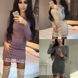 Wholesale Womens Clubwear Dresses - 2017 New arrivals sexy ladies violet beige gray long sleeve lace women mini dress party clubwear autumn dress womens clothing