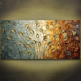 Wholesale Texture Abstract Panel Paintings - 1 Panel Unframed Handmade Texture Knife Flower Tree Abstract Modern Wall Art Oil Painting Canvas Home Wall Decor For Room Decoration