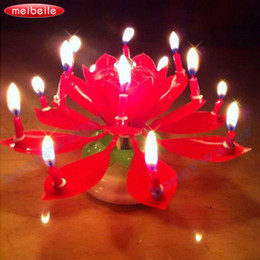 Wholesale Blossom Toys - New Red Rotatable candle for Children Birthday christmas Candle decoration Musical Blossom Trophy gift festive party