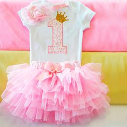 Robes de baptême gonflées en Ligne-Doux Rose Mon Premier Anniversaire Bébé Robes pour Filles Baptême Costume Robe Infant Toddler Été Princesse Tenues Puffy Robe