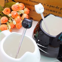 Wholesale Steel Table Spoons - Unique Cartoon Black White Cat Stainless Steel Kitten Ceramic Spoons Flatware Kitchen Tool Table Creative Decoration