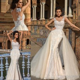 Wholesale tulle removable skirt wedding dress - Luxurious Lace Mermaid Wedding Dresses 2018 Sheer Backless Appliques Bodice with Removable Skirt Train Formal Church Bridal Gowns
