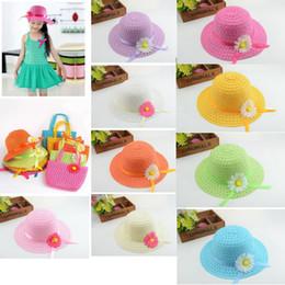Wholesale baby sunhats - 9 colors Sunflower cap Children flower sunhat baby girls Casual Beach Sun Straw Hat+Straw Handbag 2pcs set for kids GGA411 200sets