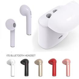 Wholesale Earpiece Wireless - I7S TWS In-Ear Wireless Bluetooth Double Earphones Twins Earpieces Stereo Music Headset For iPhone 8 7 6S Plus in stock