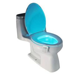 Wholesale Led Light Toilet Seat - 1Pcs PIR Motion Sensor Toilet Seat Novelty LED lamp 8 Colors Auto Change Infrared Induction light Bowl For Bathroom lighting