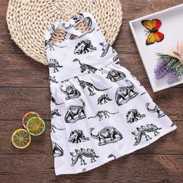 2019 tier überqueren kinder 2018 neue Baby Mädchen Kleider Dinosaurier Tier gedruckt Halter Baumwolle zurück Kreuz Kleid Sommer Kinder Kleidung 6M-3T rabatt tier überqueren kinder