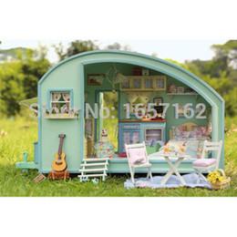 Wholesale voice box music - Time travel DIY Doll house 3D Miniature Wooden assembled+Music box+Voice-activated light Handmade kits Building model Caravan