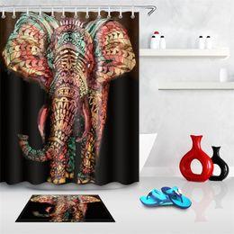 Moderne modevorhänge online-Farbe Elefant 3D Duschvorhang Abstrakte digitale Druck Polyesterfaser Persönlichkeit Vorhänge Bad Teil Home Decoration Mode 34js3 bb