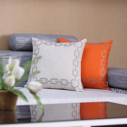 Almofadas verificadas on-line-Grânulos bordados de linho coxines de coxines Verificação de cor vermelha de capa de almofada para decoração de casa de sofá