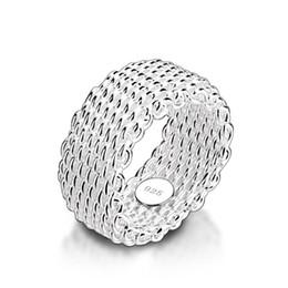2019 оптовые кольца стерлингового серебра Новая мода 9 мм широкое серебряное кольцо. Женщины твердые стерлингового серебра 925 кольцо плетеные сетки кольцо. Персонализированные серебряные ювелирные изделия оптом D18111306 дешево оптовые кольца стерлингового серебра