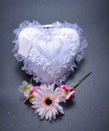 Wholesale Heart Shape Pillow Wedding - 2018 White New Arrivals Elegant Rose Wedding Favors Heart Shaped Design Gift Ring Box Pillow Cushion 15cm18cm