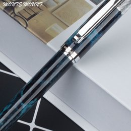 Wholesale Ballpoint Pens Wholesale - MONTE MOUNT Metal Blue marble Ballpoint Pen Black Silver Luxury Ink Pen Customize Engrave Business Creative Gift
