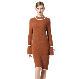 Wholesale long turtleneck dress for women - Women Elegant Sweaters Fashion Casual Contrast Color Turtleneck Retro Dresses for Women Long Sleeves Cotton Blend Knitted Dress