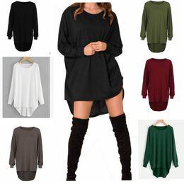 Wholesale Oversized Womens Shirts - Womens O Neck Sweater Jumper Oversized Baggy Comfy Pullover Long Tops Outwear Bat Baggy Shirts Long Sleeve Irregular Tops KKA3887