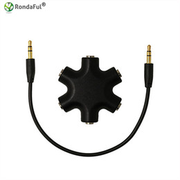 Wholesale Music Splitter - Quality 3.5mm Earphone Audio Splitter 1 Male to 1 2 3 4 5 Female Cable 5 Way Port Aux Music Sound Output Cables 28cm