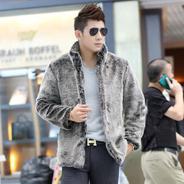 Wholesale Thick Mink Faux Fur Jackets - Wholesale- 2015 new men faux mink coat, High-grade men's warm overcoats,Casual and comfortable thickening Multi-size men's jackets