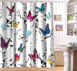 Wholesale Beautiful Curtains - Beautiful butterflies and flowers Retro Cartoon Custom Shower Curtain Fabric Bath Curtain Waterproof MORE SIZE SQ0422-LQS78