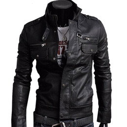 Wholesale Men Strip Clothes - 2017 Classic Style Motorcycling PU Leather Jackets Men Slim Male Motor Jacket Men's Clothes MWP148