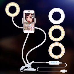 Morsetti luminosi online-New Selfie Ring Light con staffa pigra per il supporto live del telefono cellulare morsetto per Samsung HUAWEI per cellulare iphone 7 6 / plus