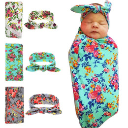 Wholesale Swaddling Wraps - Newborn Blanket Infant Baby Flower Swaddle Wrap Blanket Blanket Towelling + Baby Rabbit Ear Headbands Outfits 2pcs set 12 Colors