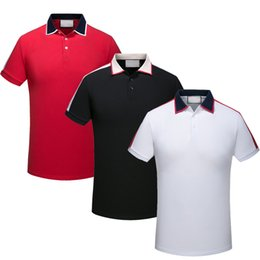 Wholesale Mens Embroidery Designs - Brand New luxury design Autumn men Short Sleeved polo shirt t shirts snake bee embroidery High street mens polos fashion stripe polo t-shirt