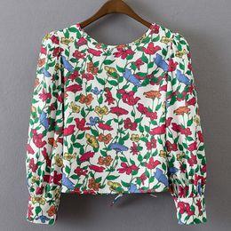 Wholesale elegant work wear - Women Blouses Casual Elegant OL Floral Blouse Slim Long Sleeve Work Wear Blusas Feminina Tops Shirts