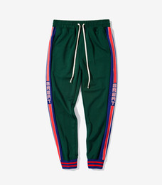 track ship Coupons - Men Hip Pop Loose Jogger Stripped Black Red Green Contrast Color Track Pants Ankle Banded Sports Pants Free Shipping