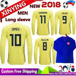 9f875248e68 NEW 2018 Long sleeves World Cup Colombia home yellow soccer jersey 18 19  away blue FALCAO JAMES CUADRADO TEO BACCA football shirts jerseys