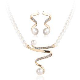 Wholesale jewelry dubai white gold - Faux Pearl Crystal Statement Necklaces & Earrings Jewelry Sets Women Acrylic Dangle Choker Dubai Gold Jewelry Set Wedding Decoration