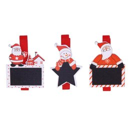 Wholesale Craft Santa - 6pcs Photo Clips 4.8cm Red Santa Claus Wood Clip Photos Clip Christmas Decorations for Home Clothespin Craft Decoration Clips