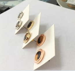 Wholesale Imitation Jewels - M letter earrings fashion Europe and the United States diamond jewel earringsRound inlaid resin film earrings, three color selection