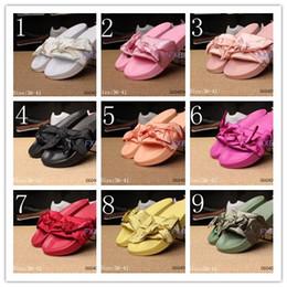Wholesale silver pink sandals - 2017 Fenty Rihanna Shoes slippers Mix colors for women With Box Dust bag 2017 Fashion ladies summer bowtie Slide Sandals flip flops.
