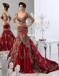indian short gown Coupons - Two Pieces Wedding Dresses Mermaid Sweetheart Indian Jajja-Couture Abaya dubai Burgundy Bridal wedding Gowns with Sleeves Lace