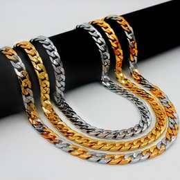 Wholesale Thick Cuban Chain - Miami Cuban Chains For Men Hip Hop Jewelry Wholesale Gold Color Thick Stainless Steel Long Big Chunky Necklace Gift