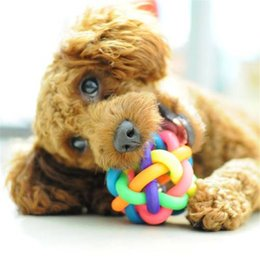 Wholesale toys small rubber balls - 2 piece Pet Dog Cat Toy Colorful Rubber Round Ball with Small Bell Toy