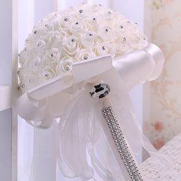 26 * 22 cm Düğün Buket Renkli Düğün Aksesuarları Dekorasyon Beyaz Yapay Nedime Çiçek İnciler Boncuk Gelin Tutan Çiçekler cheap artificial pearl accessories nereden suni inci aksesuarları tedarikçiler